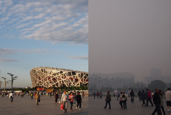 The large difference with haze covering Beijing during the APEC summit 2014