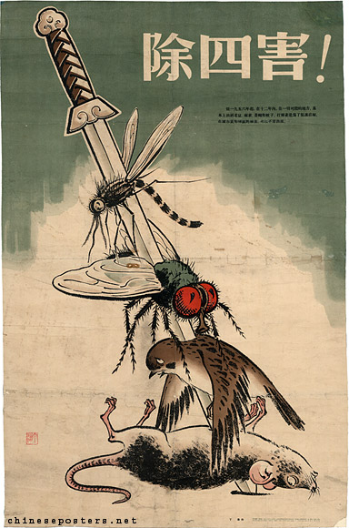 China experienced some rather drastic policies. Here showcased by a poster promoting the campaign against 'The Four Pests' in 1958. This campaign resulted in large concequences for the eco-system.